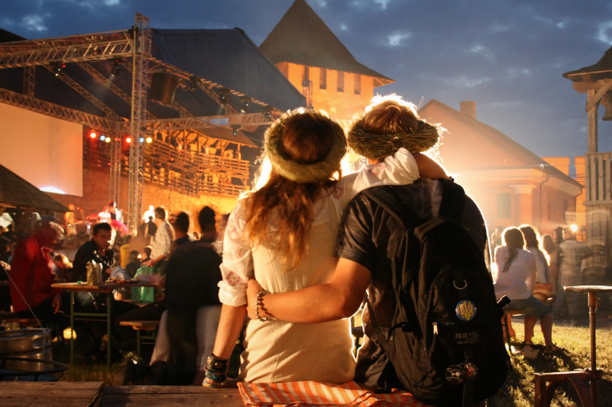 Young couple relaxing at a open-air music festival